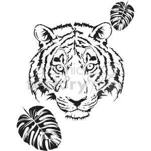300x300 Royalty Free Tiger Head Black And White 398018 Vector Clip Art