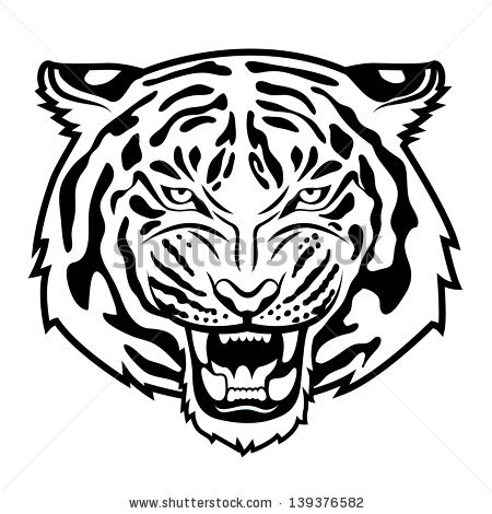 450x470 Tiger Black And White Clipart