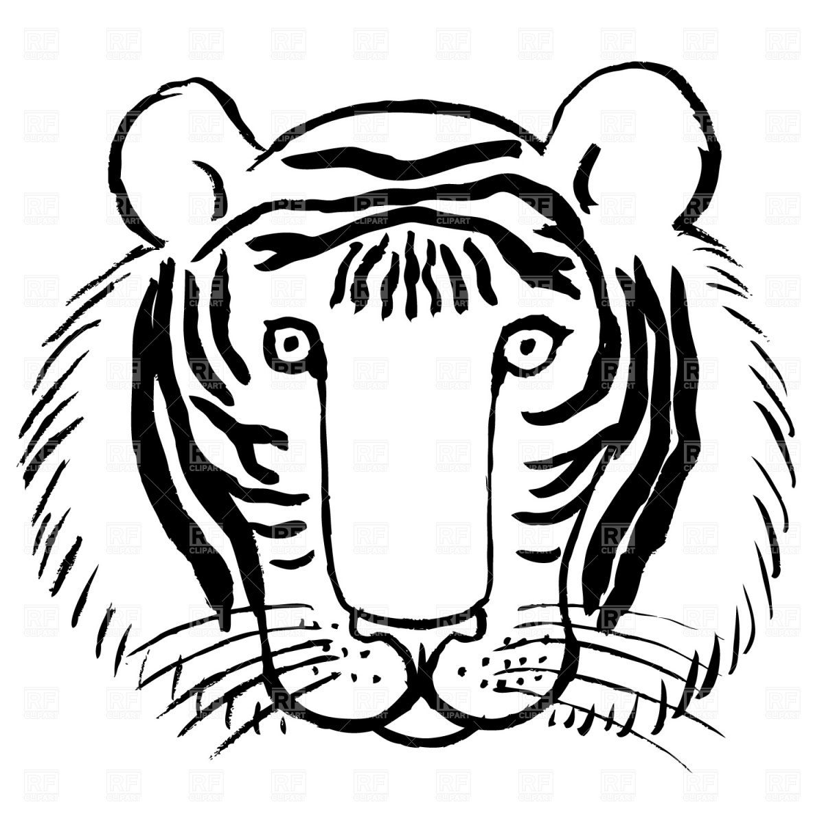 1200x1200 Tiger Face Cliparts Black And White