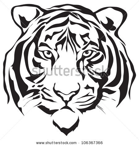 450x470 Tiger Head Clipart Black And White Letters Example