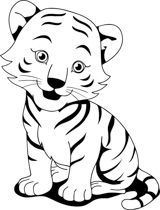 160x210 Tiger Clipart Black And White
