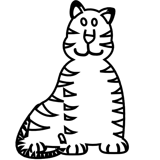 555x555 Clip Art Animal Tiger Black White Black White