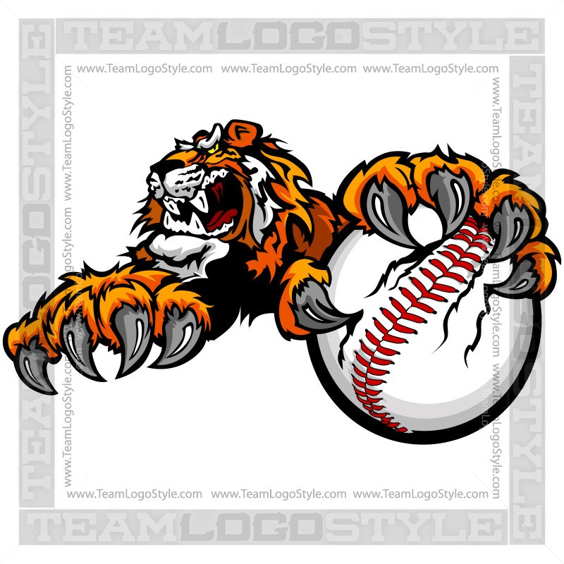 800x800 Tiger Clawing Baseball Clip Art