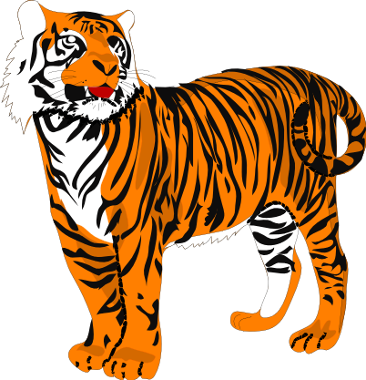 402x417 Tiger Black And White Clipart
