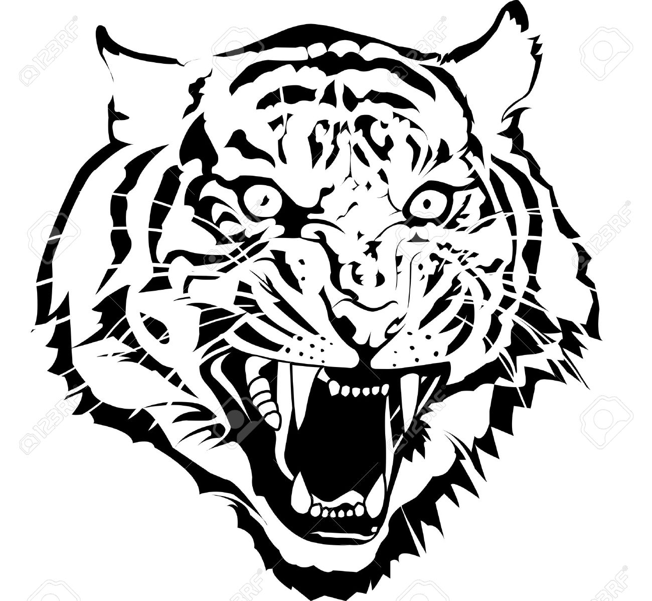 1300x1197 Black And White Tiger Head Vector By Illuatraror I Draw