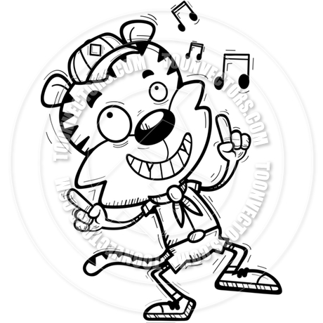 460x460 Cartoon Male Tiger Scout Dancing (Black Amp White Line Art) By Cory