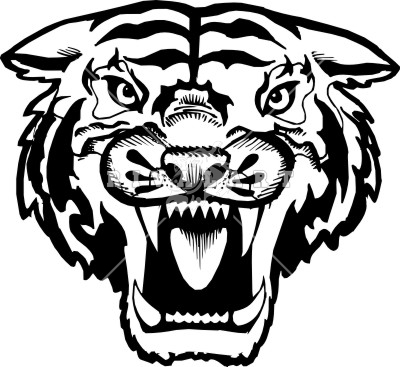400x367 Tiger Face Clip Art Black And White Clipart Panda