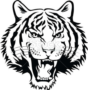 371x380 Tiger Head Black And White Clipart