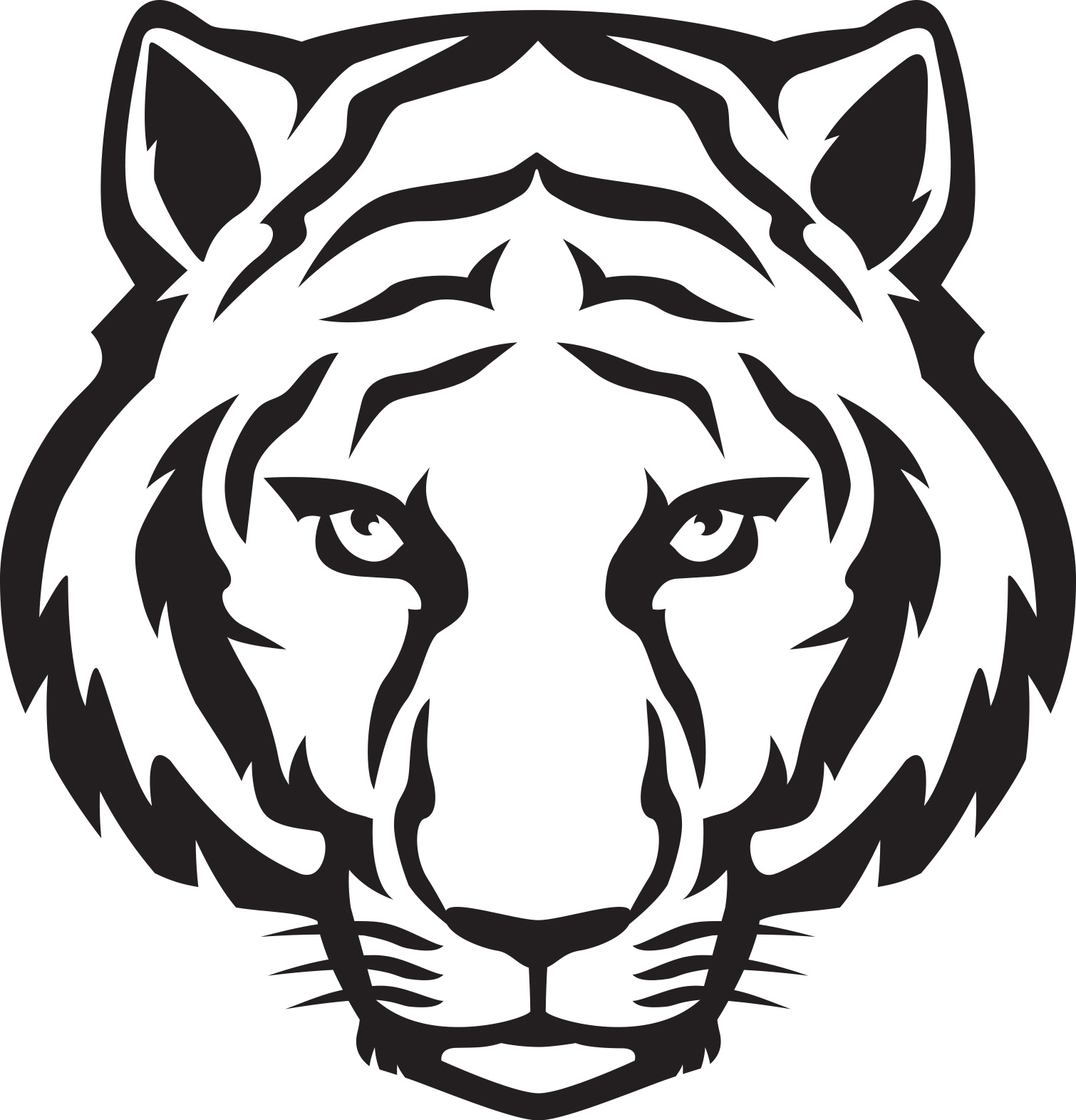 1510x1571 Tiger Head Clipart Black And White Letters Example