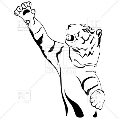 400x400 Tiger With His Paw Held High Up Royalty Free Vector Clip Art Image