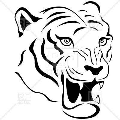 400x400 Aggressive Tiger Head Royalty Free Vector Clip Art Image