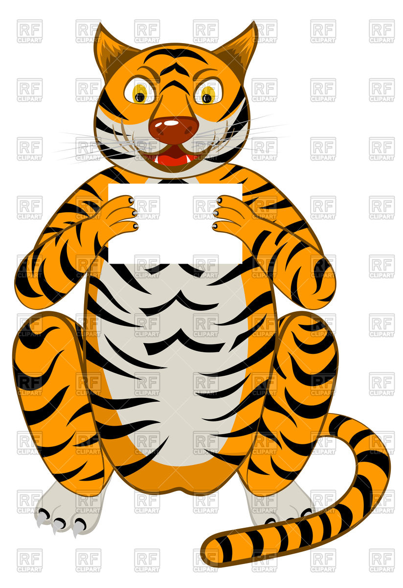 824x1200 Funny cartoon tiger Royalty Free Vector Clip Art Image