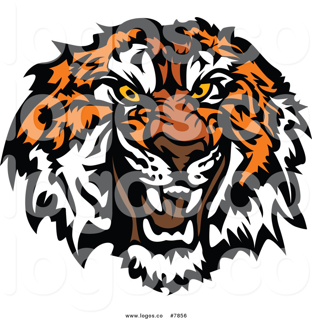 1024x1044 Royalty Free Clip Art Vector Growling Vicious Tiger Head Logo by