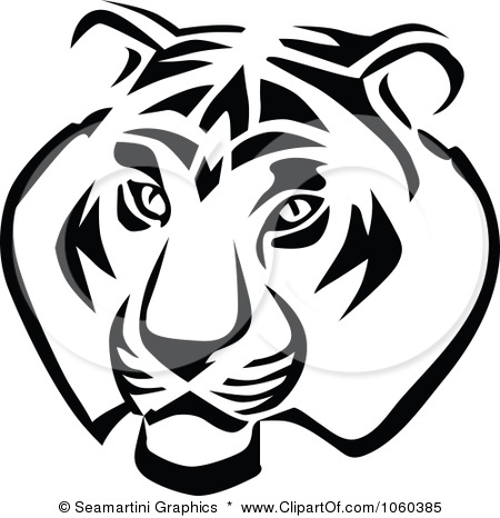 450x466 Royalty Free Vector Clip Art Illustration of a Tiger Head Logo