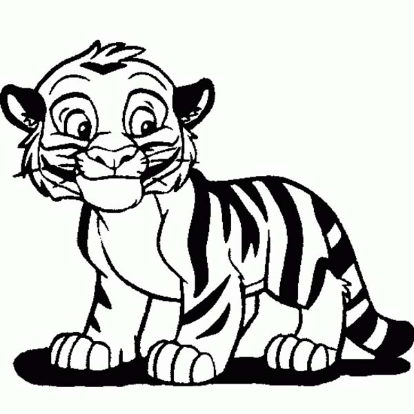 600x600 Cute Tiger Cub in Cartoon Coloring Page