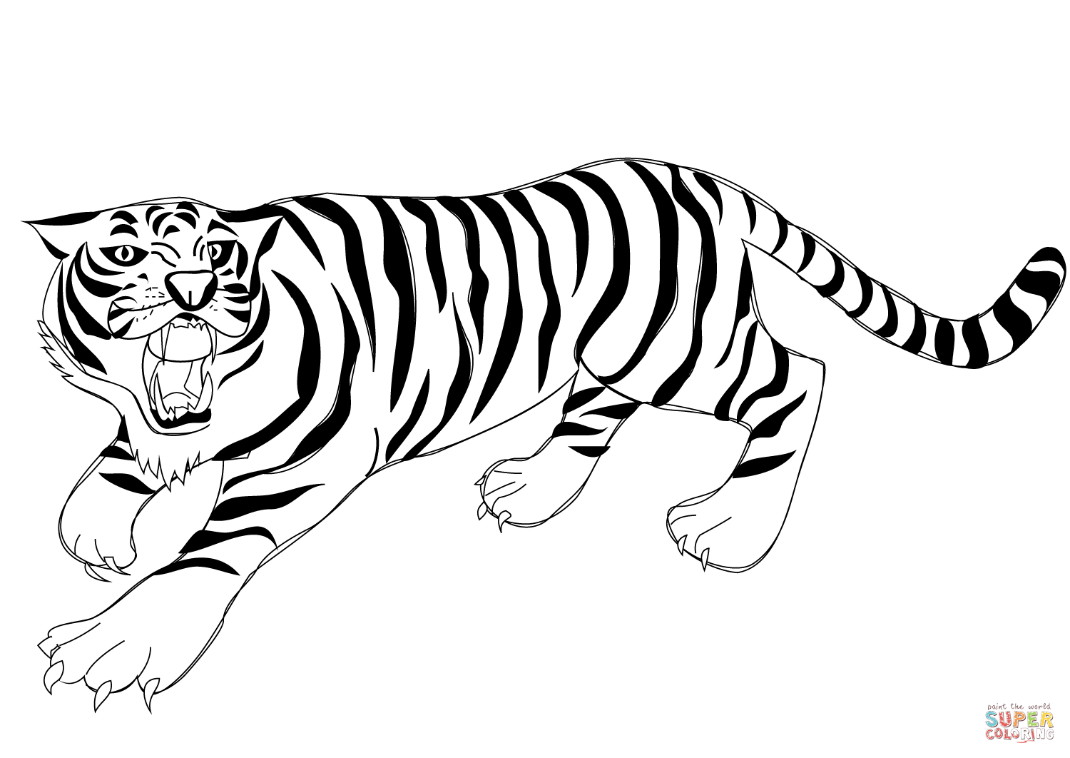 1500x1062 Roaring Tiger coloring page Free Printable Coloring Pages