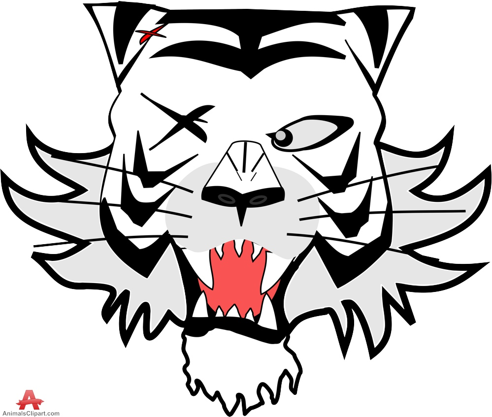 999x847 Tiger wih One Eye Cartoon Character Free Clipart Design Download