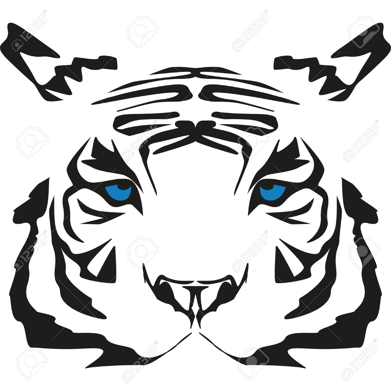 1299x1300 White Tiger clipart blue eye