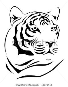 236x301 line drawing of tiger face Gift ideas Tiger face