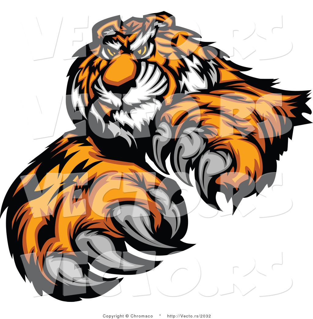 1024x1044 Vector of an Alpha Cartoon Tiger Mascot Grinning and Staring with