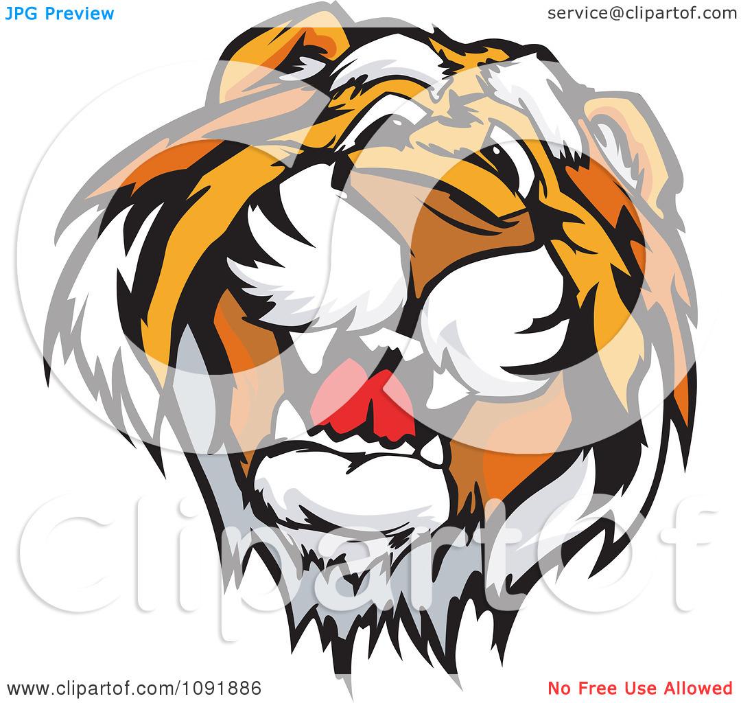 1080x1024 Cute Tiger Face Clipart