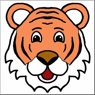 304x304 Clip Art Cartoon Animal Faces Tiger Color I Abcteach
