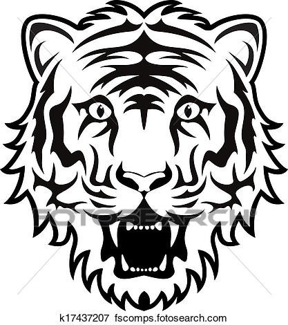 417x470 Clip Art Of Vector Stylized Black And White Tiger Face K17437207