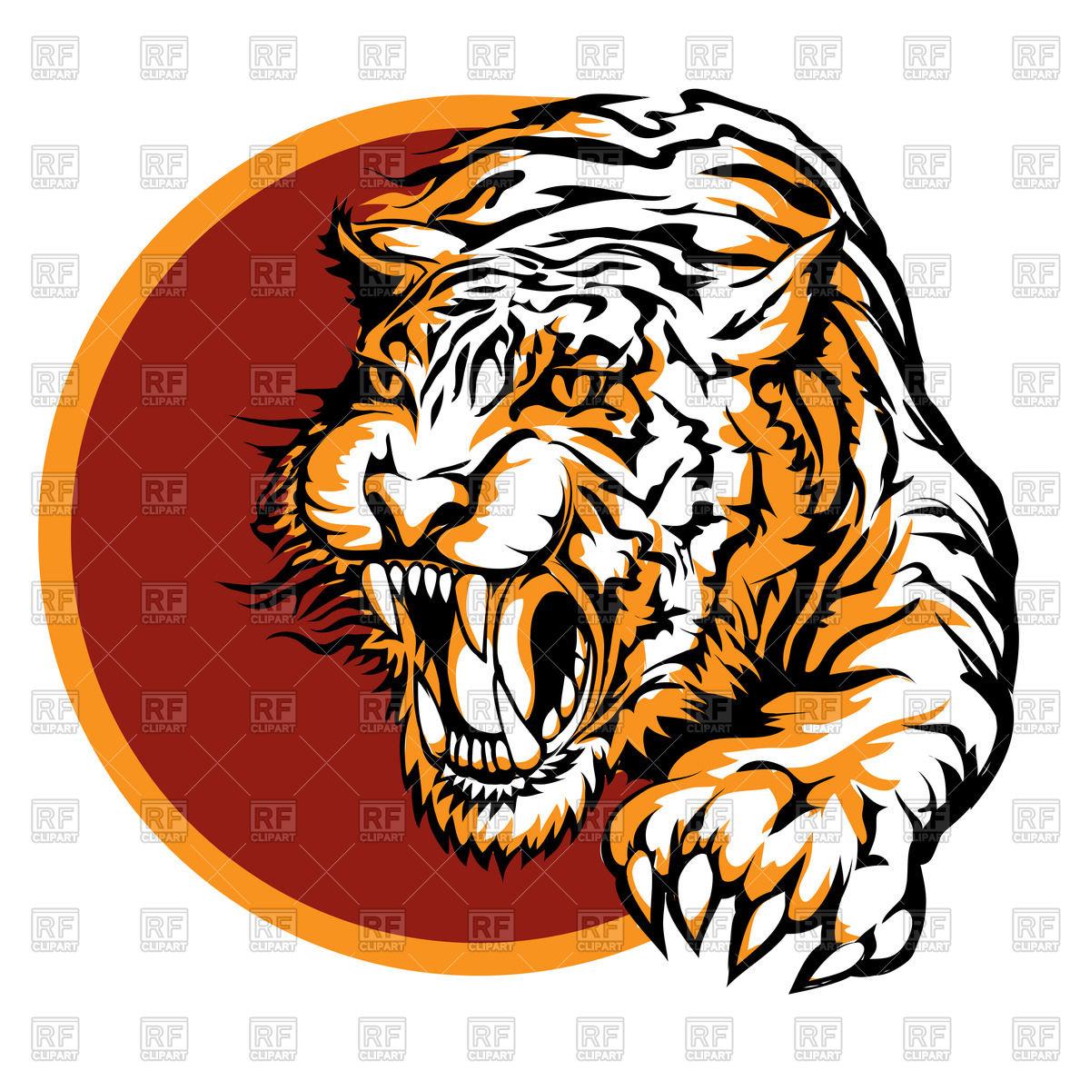 1200x1200 Roaring tiger logo Royalty Free Vector Clip Art Image