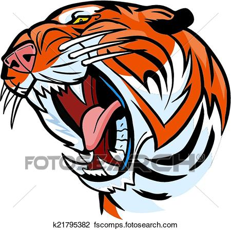 450x449 Clipart of Tiger Head Roaring Vector Cartoon k21795382
