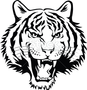 371x380 Tiger Head Clipart Black And White