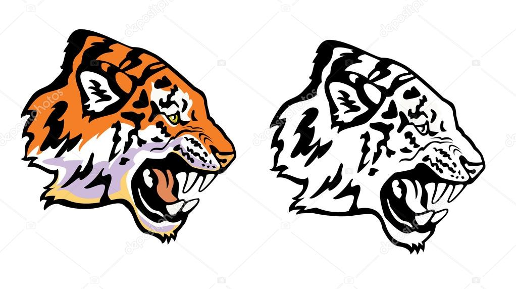 1022x572 Tiger head profile clipart