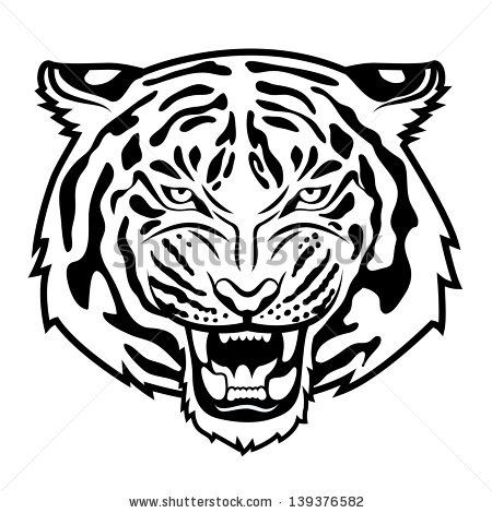 450x470 tiger face clipart black and white stock vector roaring tiger s