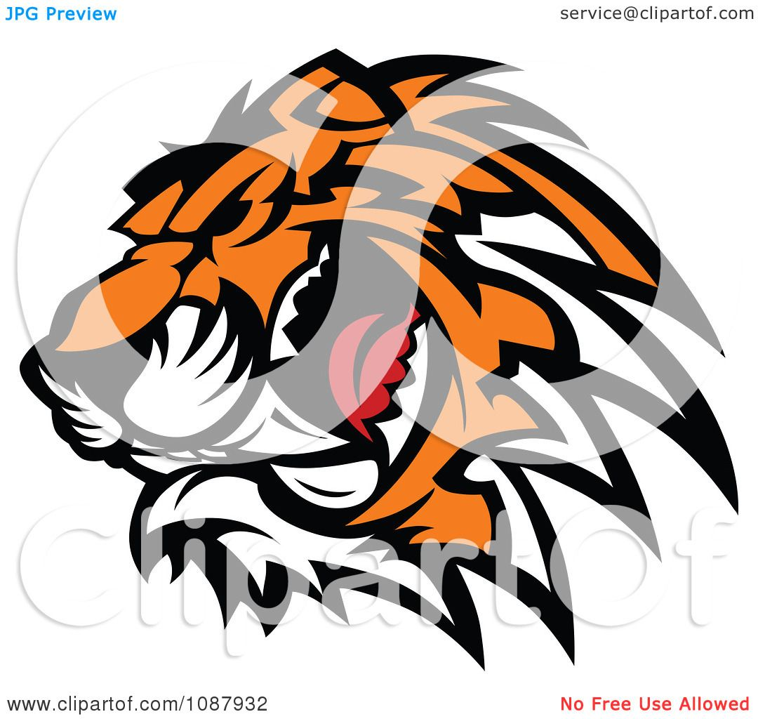 1080x1024 Clipart Ferocious Growling Tiger Head Mascot