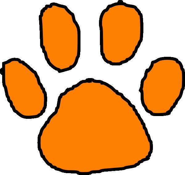 600x567 Orange Tiger Paw With Black Outline Clip Art