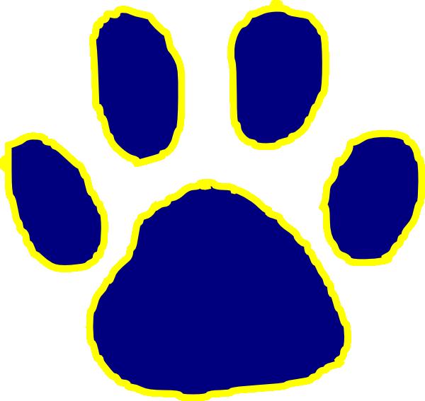 600x567 Tiger Paw Dark Blue Clip Art
