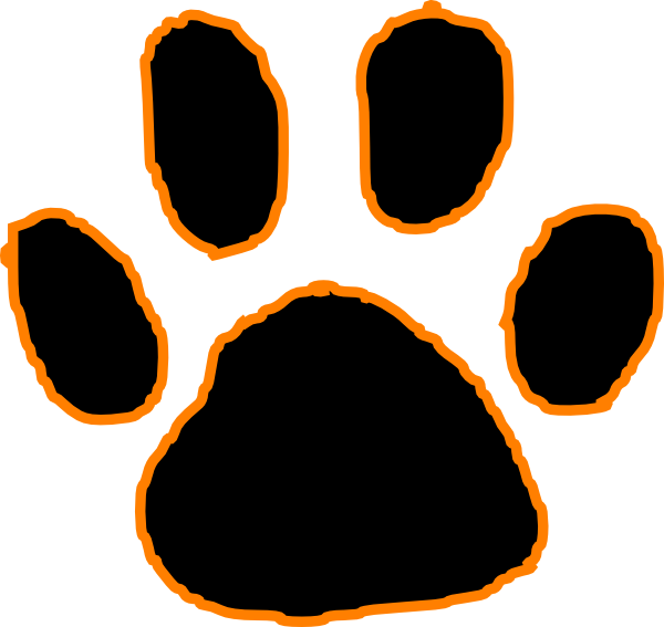 600x567 Black Tiger Paw Print With Orange Outline Clip Art