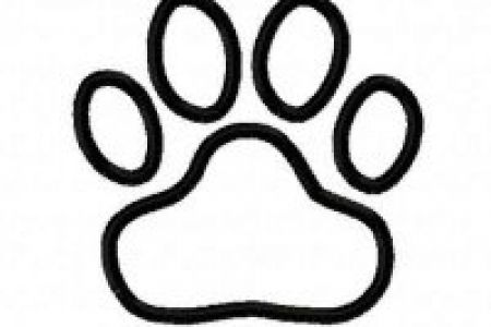 450x300 Black Tiger Paw Print With Orange Outline Clip Art