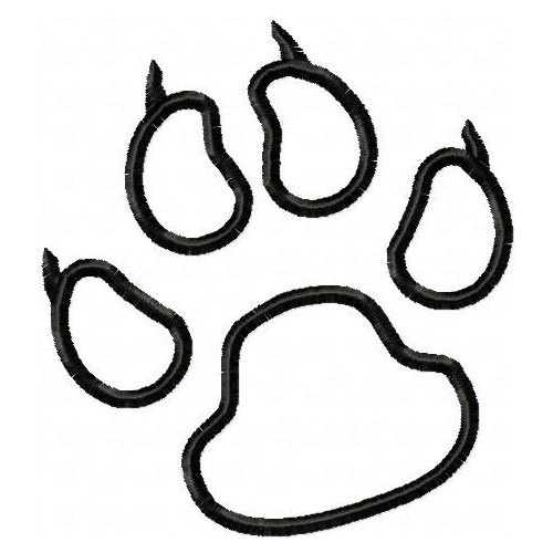 500x500 Panthers Paw Print Embroidery Machine Outline Design 4353