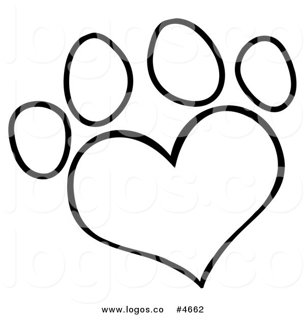 600x620 Paw Print Clip Art Black And White