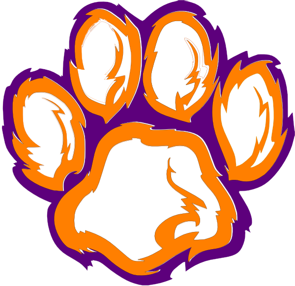 600x582 Purple Outline Tiger Paw Clipart