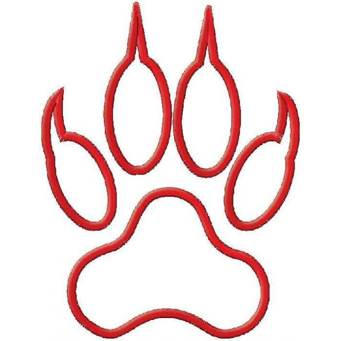 700x700 Red Outline Tiger Paw Clipart