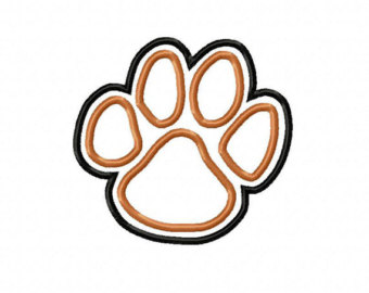 340x270 Tiger Paw Print Embroidery Machine Applique Design 10169