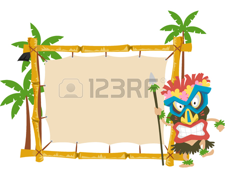 450x352 Frame Illustration Of A Coconut Drink With A Tiki Glass Beside