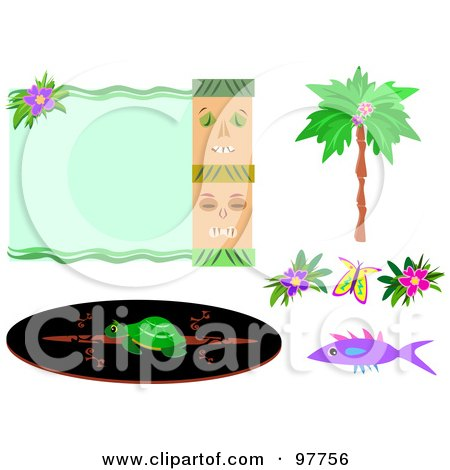 450x470 Royalty Free (Rf) Clipart Illustration Of A Tiki And Flower Border