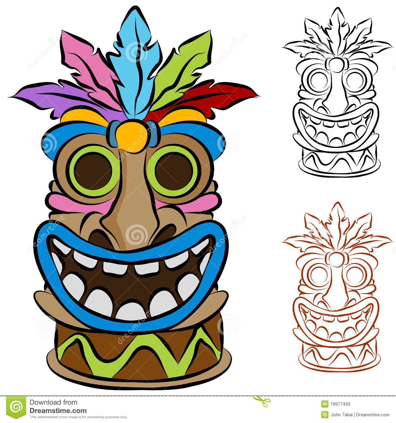 1300x1390 Happy Tiki Mask Clipart Luau Party Tiki Mask
