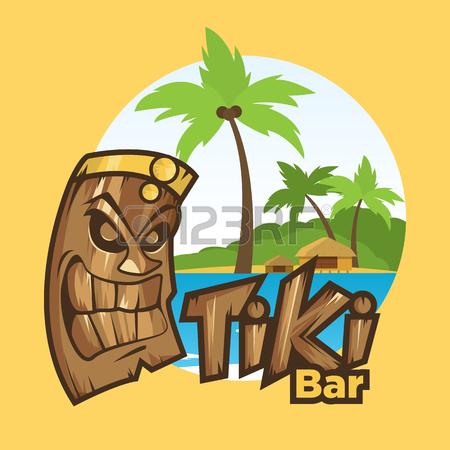 450x450 Tiki Tribal Mask. Tiki Bar Banner. Vector Illustration. Hawaiian