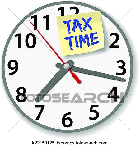 450x470 Clipart Of Tax Time Clock Taxes Due Date K22159125