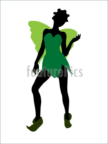 375x500 Illustration Of Tinker Bell Silhouette Illustration. Illustration