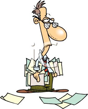 284x350 Tired Accountant Holding A Bunch Of Papers