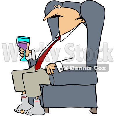 400x400 Tired Businessman Relaxing With Wine After A Long Day